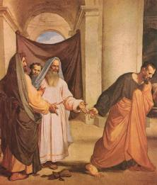 Judas Iscariot and the chief priests and elders at the temple, their money on the floor.