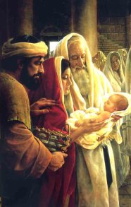 Simeon Holding the Baby Jesus in the Temple as His Parents Look On