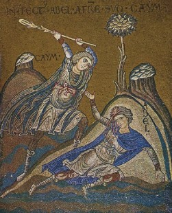 Cain and Abel Mosaic in Monreale, Sicily, 12th century.
